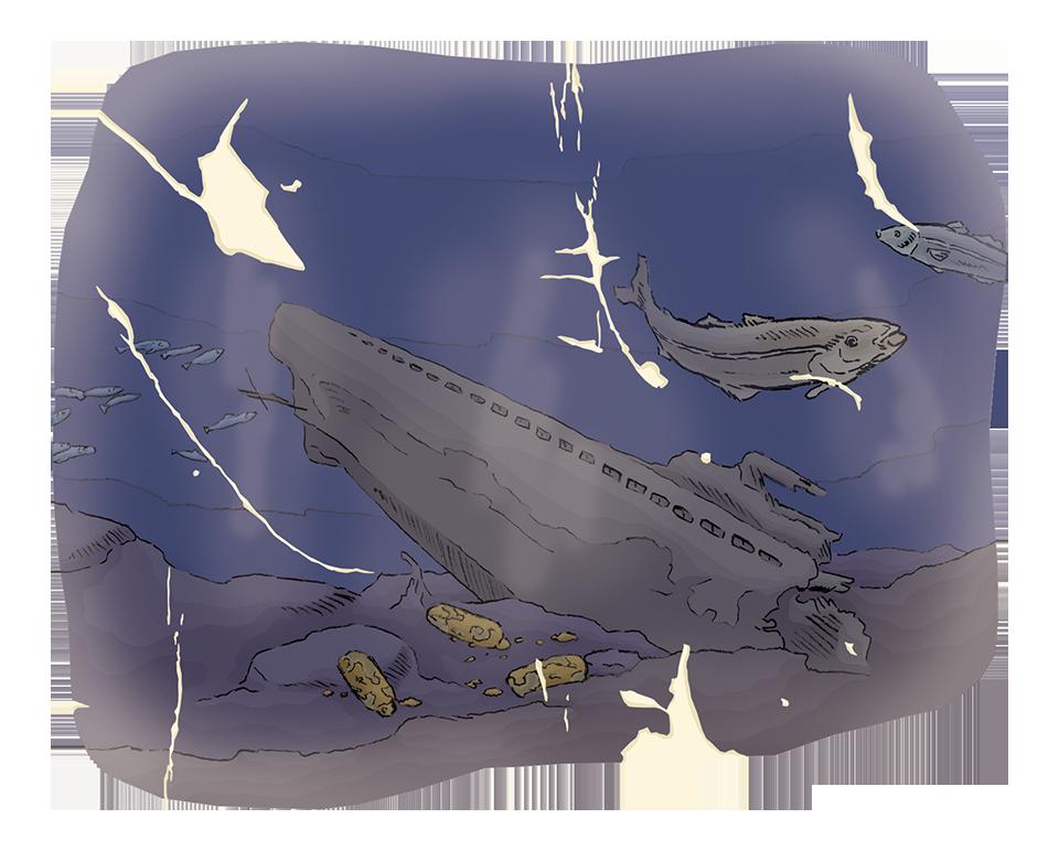 Øderlagt ubåt på havets bunn