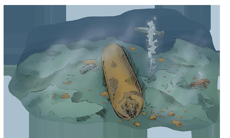 Kvikksølvbeholder på havets bunn